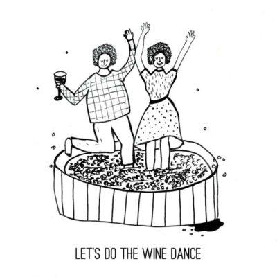 Wenskaart Jean wine dance